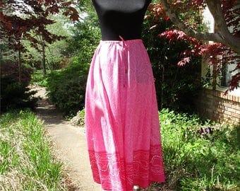 Vintage BOHO MAXI Skirt, Bright PINK India Cotton Skirt! Hippie Festival skirt, pink print silver sequins, breezy summer Boho Gypsy skirt