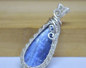 Blue Kyanite Wire Wrapped Pendant / Sterling Silver