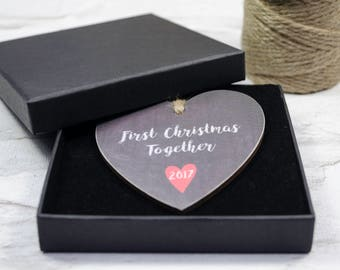 First Christmas Together hanging decoration, Christmas decoration, Christmas Gift, charcoal wooden hanging heart.