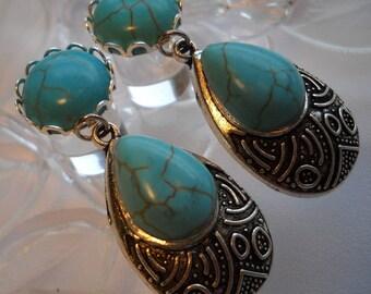 0g Plug, 00g Plug, Blue Howlite, Faux Turquoise and Antique silver turquoise teardrop pendant, Dangle Plugs, Dangle Gauges