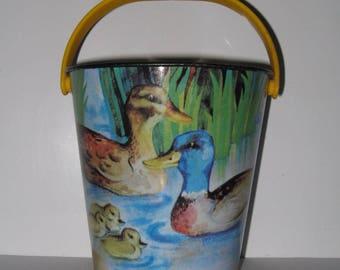 Vintage Children's Metal Toy Bucket.