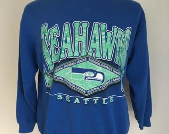 SUMMER SALE Rad Vintage 80s Seattle Seahawks Sweatshirt M 50/50