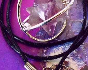 SPINNING Purple AMETHYST Crystal MERKABA Star Pendant in Cage with Hemp Chain, Sacred Geometry Necklace
