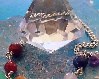 Large Stunning 150 Carat DIAMOND Cut Solid Clear CRYSTAL QUARTZ Dowsing Pendulum With Chakra Crystal Chain and Velvet Storage Pouch