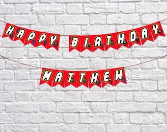 Happy Birthday Banner, Superhero Party Banner, Personalised Banner, Themed Party, Superhero Party, Personalised Name, Birthday Party Banner