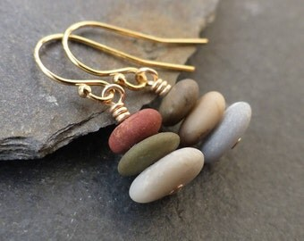 Beach stone earrings, sterling silver, gold, natural stone jewelry, beach pebble earrings, cairn earrings, boho jewelry, nature jewelry