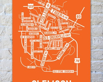 Clemson, South Carolina Street Map Print - College Town Maps