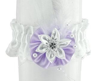 Bridal wedding garter, bride garter, white purple garter, wedding lingerie, handmade bridal satin garter, plus size garter elegant garter 12