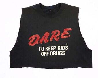 90s Vintage D.A.R.E Tank Crop Top