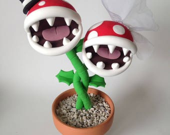 Piranha Plant Super Mario Wedding Topper Doll Planta Carnívora
