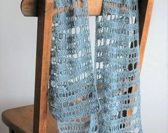 Lacy summer scarf / baby alpaca / pale aqua blue / lightweight crochet scarf / mesh scarf