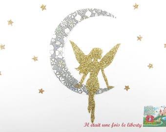 Appliqués thermocollants Fée lune étoiles tissus liberty June's Meadow gris flex pailleté doré applique liberty thermocollant patch repasser