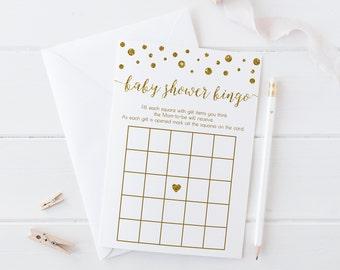 Gold Baby Shower Bingo, Baby Bingo Cards, Gold Baby Shower Game, Gold Baby Bingo, Printable, Bingo Game, Instant Download - CG1