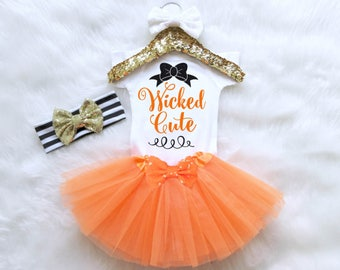 Wicked Cute Halloween Outfit. Baby Girl Halloween Costume. Witch Halloween Costume. Baby Halloween Outfit. Halloween Bodysuit.