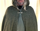 Men's Dagda Harris Tweed Full Length Pagan, Shaman, Wiccan, Steampunk, Viking, Druid, Avalon Cloak Cape