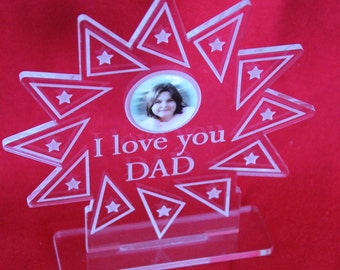 I LOVE YOU DAD Acrylic Starburst 'Award' Photo Personalised Father's Day Gift