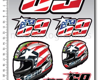 Nicky Hayden 69 decal sheet stickers set racing 16x26 cm. motorcycle MotoGP graphics Kentucky Kid Laminated