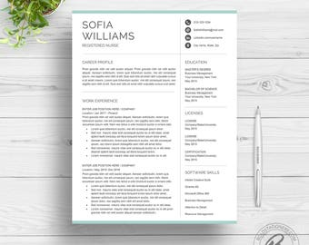 Modern Resume Template for Word | Clean Resume Design | Two Page Resume Download | Nurse Resume Template | CV Template for Word