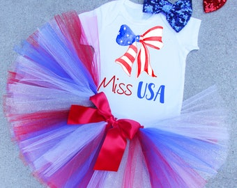 Miss USA, 4th of JULY Shirt, Miss USA Outfit, 4th of July Set, Girls Clothing, 4th of July Shirt, 4th of July Skirt, 4th of July Photo Prop