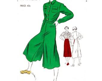 1930s wide leg culottes trousers & blouse ensemble // vintage sewing pattern reproduction // PICK YOUR SIZE bust 32 34 36 38