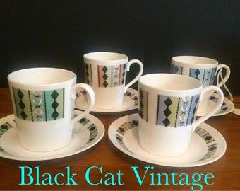 Royal Adderley Fine English Bone China Masquerade Tea Coffee Set Demitasse 4 Cups / Saucers