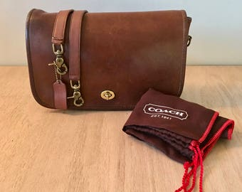 Vintage Coach Leatherware Milk chocolate- British Tan- City bag // Made in NYC USA // with Dust Bag