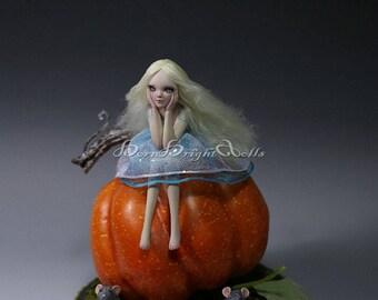 "Mini 5"" OOAK Sculpture Cinderella Pumpkin Pixie Fae Fantasy Art Doll Handmade Polymer Clay Figurine Realistic Fairy Lifelike Original by BBD"