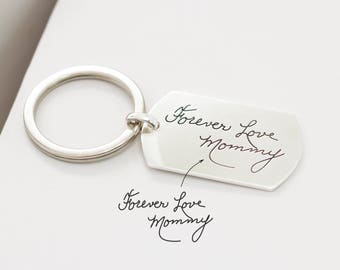 VALENTINE Gift for Dad • Handwriting Keychain • Engraved Signature Dogtag • Custom Handwriting Tag • Military Dog Tag • Uncle Gift • CM26
