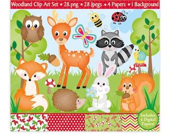 Woodland Animals Clipart,Woodland Digital Papers,Woodland Animals,Animals Clipart,Clipart,Forest Animals Clipart,Fox,Scrapbooking,Commercial