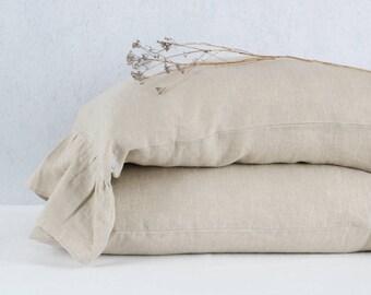 Natural linen rufffled linen pillowcases, linen pillow case with ruffles. Ruffle linen bedding. Rustic linen pillow cases.