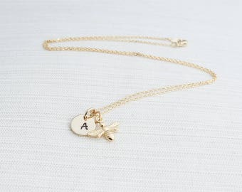 Gold Initial and Bee Necklace, Initial Necklace, Gold Bee Necklace, Manchester Bee, Bridesmaid Gift
