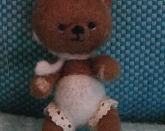OOAK Artist bear, needle felted bear, mini teddy bear, art bear, dollhouse bear, miniature bear 2,5inch/ 6,5cm brown bear with lacepants