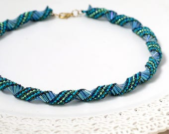Beaded necklaces for women, Spiral jewelry, Blue and green necklace, Blue statement necklace, Spiral necklace, Seed bead necklace