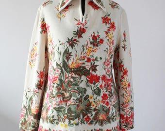 Vintage 1970s Floral Jumper, Big Collar Knit Top, Botanical Floral Hippy Mod RETRO, UK L Large 16