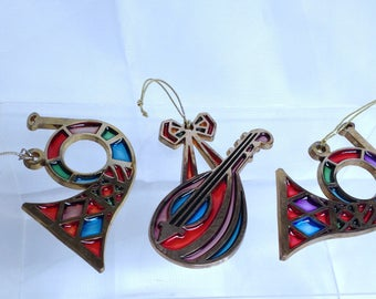 3 Pce Vintage Avon Christmas Ornament Set, Horns & String Instrument, Acrylic Stained Glass Look Musical Ornaments for Christmas Tree