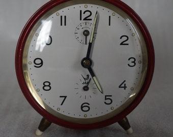 French Vintage  Jaz Mechanical Alarm Clock. Made in France 1960s. Red alarm clock made in France