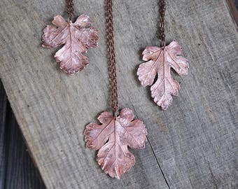 Valentine's sale Real morus leaf necklace, electroformed leaves, copper electroform, botanical jewelry, real mulberry plant jewelry