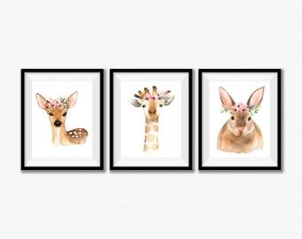 Girl Nursery Decor, Baby Girl Nursery Print Set, Woodland Nursery Art, Nursery Prints Pink Baby Decor, Childrens Wall Art Baby Girl Set of 3