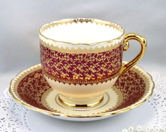 Taylor Kent Teacup & Saucer, Burgundy Gilded Borders,Bone English China made in 1950s
