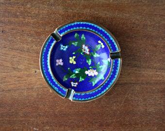 Blue Floral Cloisonne Ashtray, Enamel and Brass Ashtray, Antique Chinese Cloisonne Dish