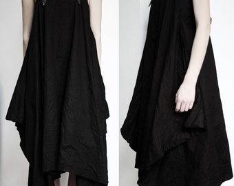 Black linen parachute dress