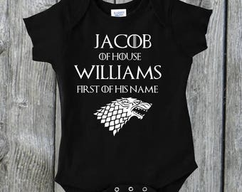 Games of Thrones Inspired Personalized Onesie Toddler Shirt Baby Shower Gift