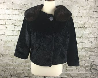 Vintage Faux Persian Lamb Cropped Jacket