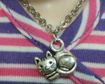 Wellie Wishers Silver Kitty Cat Necklace for American Girl 14.5 inch dolls