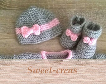SET baby hat and SLIPPERS gray pink handknit baby girl birth / 3 / 6 months