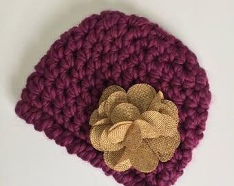 Natural Burlap Flower Beanie, Ready to Ship, Baby Girl Beanie, Crochet Hat Baby, Newborn Girl Hat, Baby Shower Gift Girl, Newborn Hat
