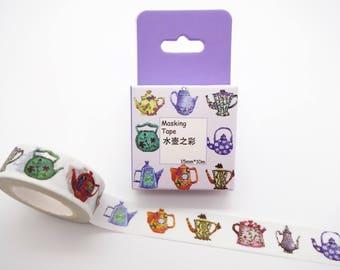 Tea pot washi tape, cute planner tape, tea washi tape, afternoon tea, tea time washi, drink washi tape, tea party tape, kawaii washi tape