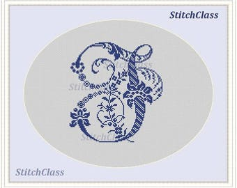 Floral old Monogram letter J Counted Cross Stitch Pattern PDF Monogram J for initials of persona Crossstitch patterns PDF. Not alphabet