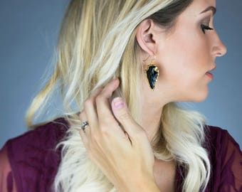 Arrowhead Earrings, Black And Gold Arrowhead Earrings, Bohemian Earrings, Boho Earrings, Dangle Arrowhead Earrings, Gifts For Her
