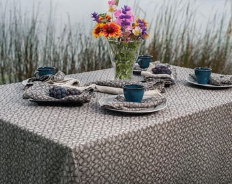 Linen tablecloth, beige gray with pattern, stone washed linen tablecloth, gray tablecloth, square, rectangular, softened linen tablecloth